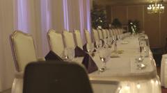 Formal event table set rack focus Stock Footage