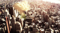 Breathtaking view of a atom bomb detonating in large city Stock Footage