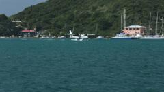 Sea Plane taxiing St Thomas USVI ocean bay HD 0817 Stock Footage