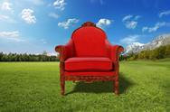 Stock Illustration of red armchair in the desert
