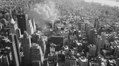 Breathtaking view of a detonating atom bomb in large city - stock footage