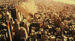 Detonating atom bomb in large city center - stock footage