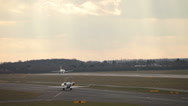 Stock Video Footage of british airways airbus a320-232 jet airplane g-euuv taking off dusk dusseldor