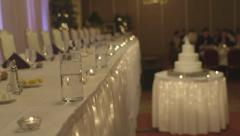 Formal event table set pan Stock Footage