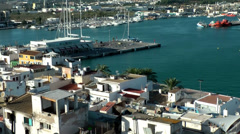 Europe Spain Balearic Ibiza Eivissa city 179 harbor district from above Stock Footage