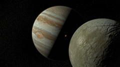 Jupiter, Io and Europa Stock Footage