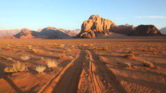 Wadi Rum male walking desert track, Southern Jordan Stock Footage