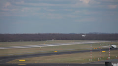 Flybe airlines bombardier dash 8 q400 jet liner airplane landing dusseldorf a Stock Footage