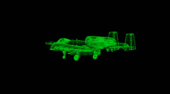 A-10 Wireframe Stock Footage