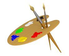 Palette and brushes Stock Illustration