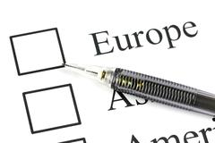 mechanical pencil point to checkbox in europe text. - stock photo