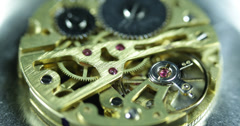 Ultra HD 4K Old Watch Clock Mechanism Golden Gears Elements Chain System Cogs Stock Footage
