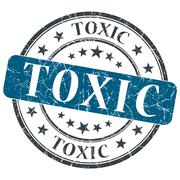 Stock Illustration of toxic blue grunge round stamp on white background