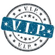 vip blue grunge round stamp on white background - stock illustration