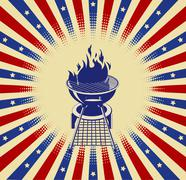 red, white and bbq - stock illustration