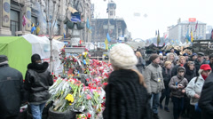 Euro maidan meeting in Kiev, Ukraine. flowers in Kiev. Stock Footage