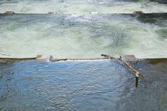 water control with spillway - stock photo