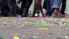 Confetti covered ground of Bourbon street Stock Footage
