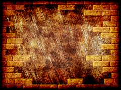 brown grungy abstract background with yellow brick frame border. - stock illustration