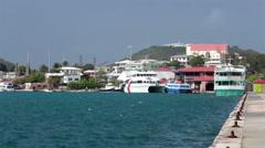 St Thomas USVI ferry sea plane port marina HD 0818 Stock Footage