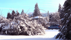 Winter Village - 31 - Snowy Trees, Street, Road, Cars. Houses Stock Footage