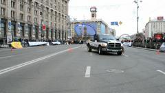 Woman sport car rally show on Kreshatik in Kiev, Ukraine. Stock Footage