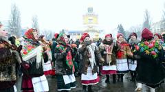 Shrovetide (Maslenitsa) celebration, Kiev, Ukraine. Stock Footage