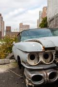 Old Cadillac in New York City - stock photo