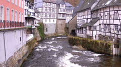 Water mill in small German town Monschau. Stock Footage