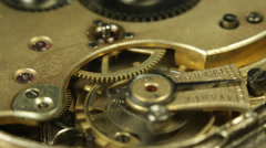 Stopwatch Mechanism Cog Macro Clock Ticking Clockworks Concept Time Pass History - stock footage