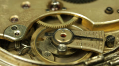 Watch Clock Cogs Machine Circle Movement Motion Pan Old Fashioned Clock Retro - stock footage