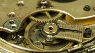 Stock Video Footage of Watch Clock Cogs Chronometer Machine Circle Movement Motion Pan Old Clock Retro