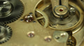 Complex Movement Old Mechanism Watch Golden Gears Hour Progress Inside Machinery HD Footage