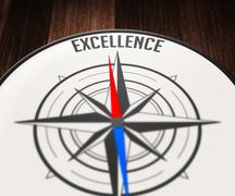 Excellence word indicated by compass Stock Illustration