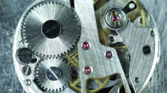 Silver Old Mechanism Clock Gearwheels Watch System Jewels Engine Drive Working Stock Footage