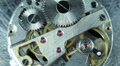 Old Stopwatch Clock Gears Mechanism Rotating Close Up Gearing Watchmaker Round Footage