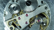 Stock Video Footage of Old Stopwatch Clock Gears Mechanism Rotating Close Up Gearing Watchmaker Round