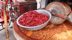 Vendors sell chili powder in market,Xi'an,China. - stock footage