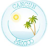 Stamp Cancun - stock illustration