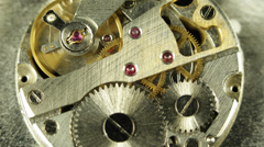 Gears Cogwheels Watch Brass Mechanism Close Up Vintage Chronograph Time Flies Go - stock footage