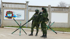 Russian soldiers guarding a naval base in Perevalne, Crimea Stock Footage