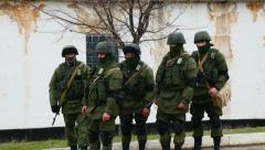 Russian soldiers guarding a naval base in Perevalne, Crimea, Ukraine Stock Footage