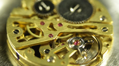 Close Up View Gears Old Mechanism Horologe Antiquity Complex System Motion Time - stock footage