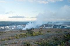 $smoking crater of halemaumau kilauea volcano in hawaii volcanoes national park - stock photo