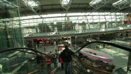Stock Video Footage of dusseldorf airport terminal escalators smooth steady cam point of view pov