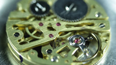 Macro Mechanism Clockworks Gears Old Time Keeper Clock Watch Interior Close Up - stock footage