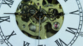 Macro Shot Hand Clock Watch Dial Face Time Passing Old Gear Mechanism Rush Hour Footage