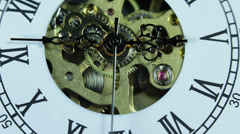Macro Shot Hand Clock Watch Dial Face Time Passing Old Gear Mechanism Rush Hour Stock Footage