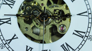 Stock Video Footage of Macro Shot Hand Clock Watch Dial Face Time Passing Old Gear Mechanism Rush Hour