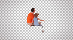 Stock Video Footage of man & child on spectator seats (rear view)